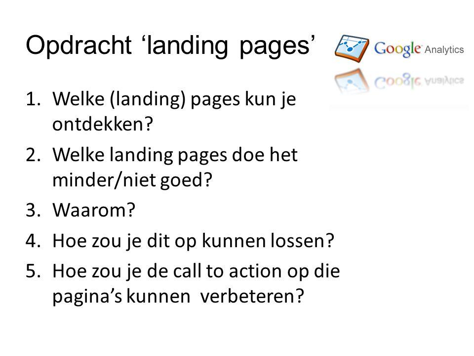 Opdracht 'landing pages' 1.Welke (landing) pages kun je ontdekken.