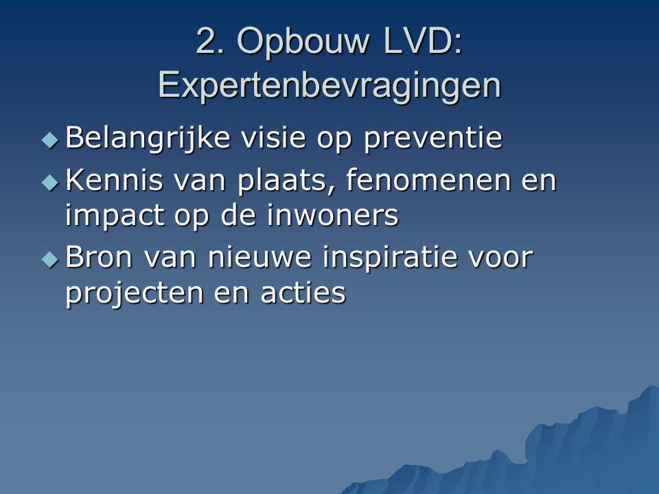 2. Opbouw LVD: Expertenbevragingen  Belangrijke visie op preventie  Kennis van plaats, fenomenen en impact op de inwoners  Bron van nieuwe inspirat