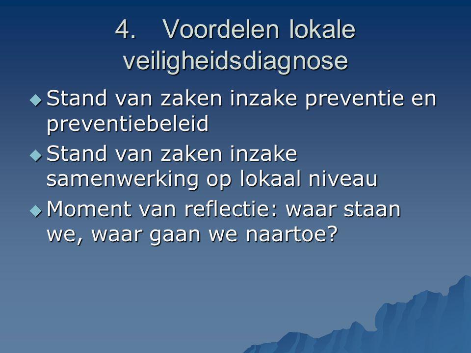 4.Voordelen lokale veiligheidsdiagnose  Stand van zaken inzake preventie en preventiebeleid  Stand van zaken inzake samenwerking op lokaal niveau  Moment van reflectie: waar staan we, waar gaan we naartoe