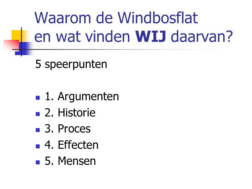 Waarom de Windbosflat en wat vinden WIJ daarvan. 5 speerpunten 1.