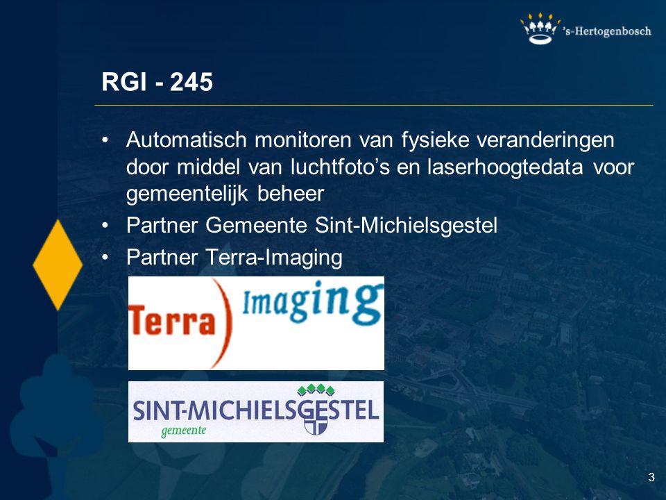 3 RGI - 245 Automatisch monitoren van fysieke veranderingen door middel van luchtfoto's en laserhoogtedata voor gemeentelijk beheer Partner Gemeente Sint-Michielsgestel Partner Terra-Imaging