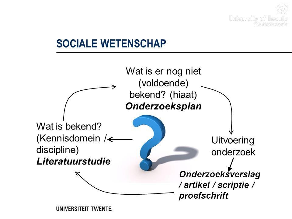 SOCIALE WETENSCHAP Wat is bekend? (Kennisdomein / discipline) Literatuurstudie Wat is er nog niet (voldoende) bekend? (hiaat) Onderzoeksplan Uitvoerin