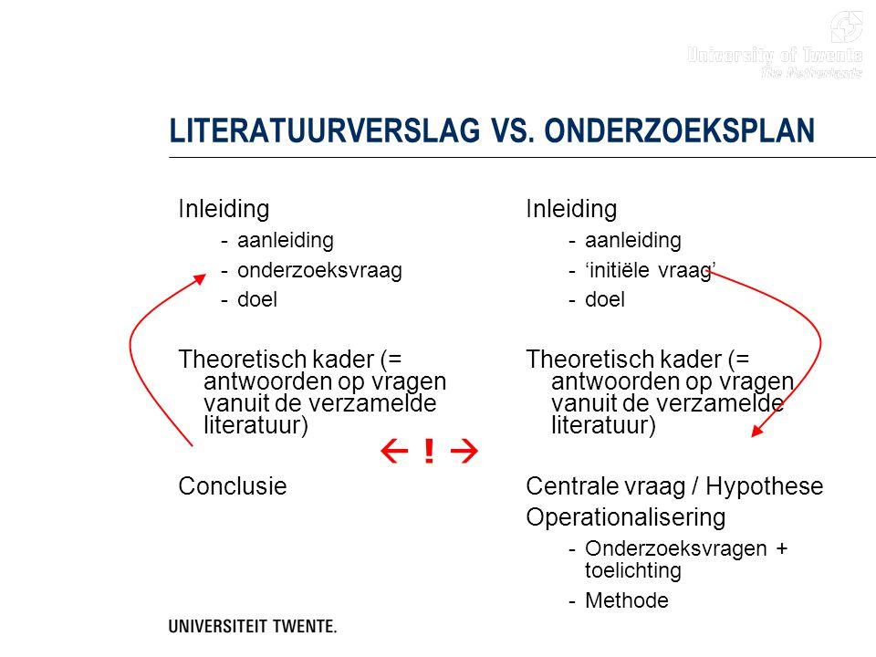 LITERATUURVERSLAG VS. ONDERZOEKSPLAN Inleiding -aanleiding -onderzoeksvraag -doel Theoretisch kader (= antwoorden op vragen vanuit de verzamelde liter