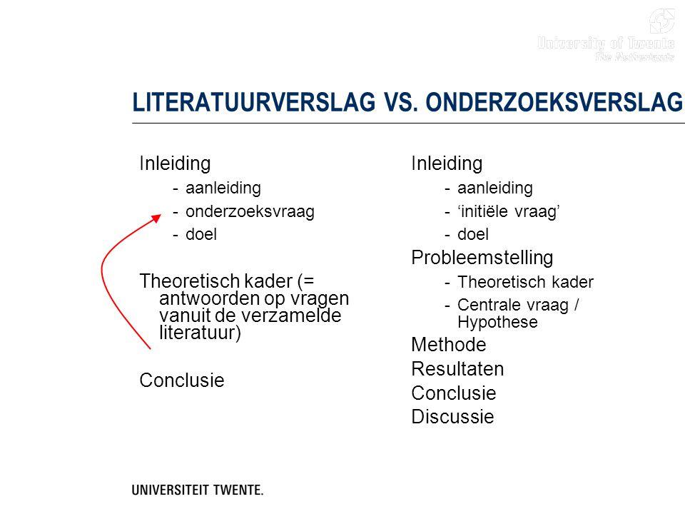 LITERATUURVERSLAG VS. ONDERZOEKSVERSLAG Inleiding -aanleiding -onderzoeksvraag -doel Theoretisch kader (= antwoorden op vragen vanuit de verzamelde li