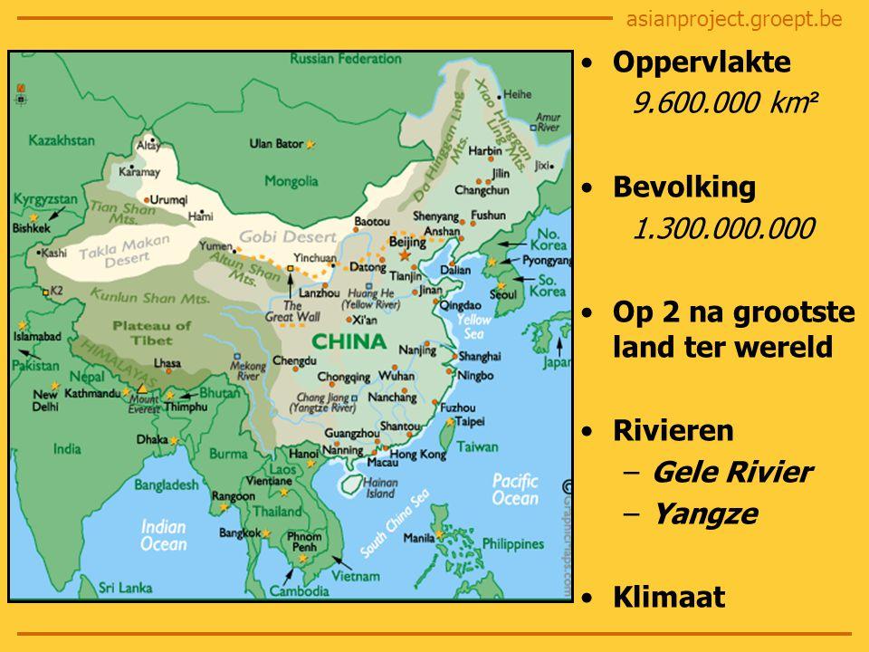 asianproject.groept.be Oppervlakte 9.600.000 km ² Bevolking 1.300.000.000 Op 2 na grootste land ter wereld Rivieren –Gele Rivier –Yangze Klimaat