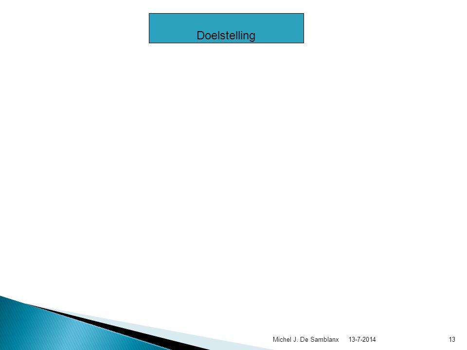  Doelstelling  Opvolging van de doelstelling  Kwijting  Strategische krijtlijnen  Toezicht  Uitvoering 13-7-2014Michel J.