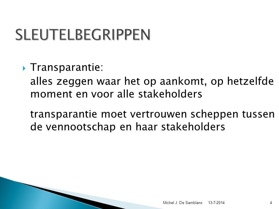 Sleutelbegrippen bij interne controle, interne audit en het goodgovernancedebat 13-7-2014Michel J.