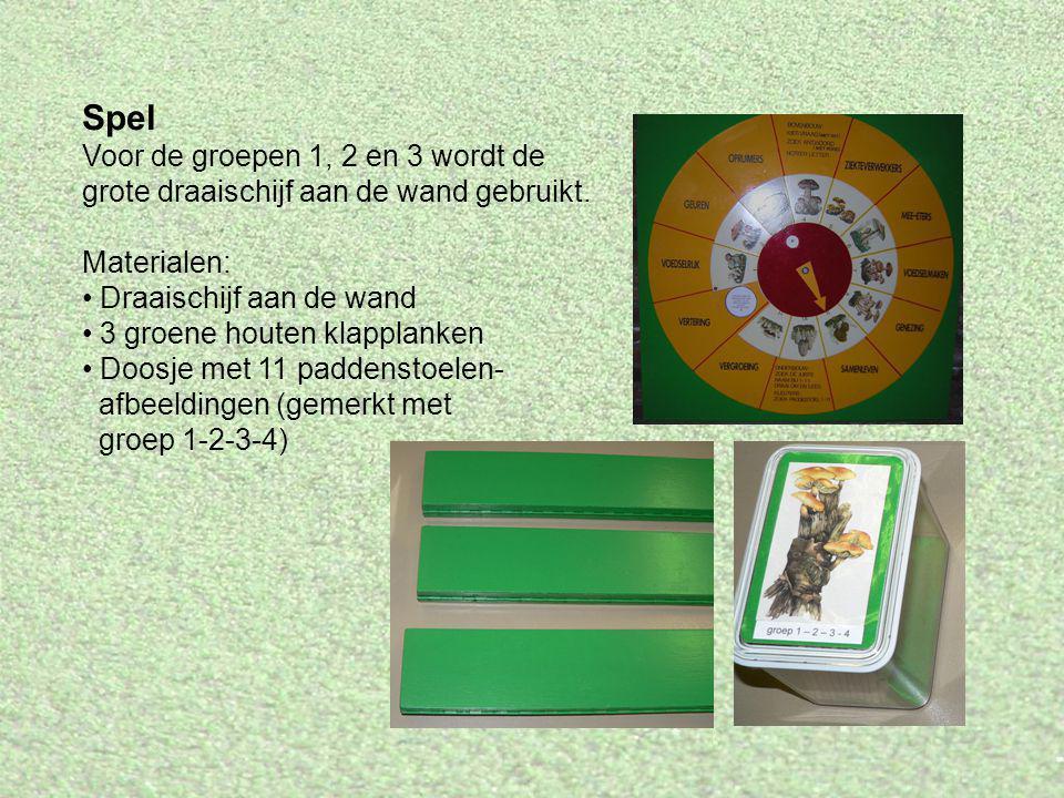 Spel Voor de groepen 1, 2 en 3 wordt de grote draaischijf aan de wand gebruikt. Materialen: Draaischijf aan de wand 3 groene houten klapplanken Doosje