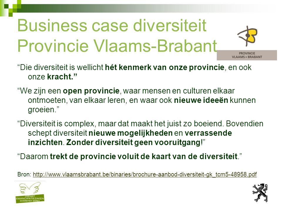 Business case diversiteit Provincie Vlaams-Brabant Die diversiteit is wellicht hét kenmerk van onze provincie, en ook onze kracht. We zijn een open provincie, waar mensen en culturen elkaar ontmoeten, van elkaar leren, en waar ook nieuwe ideeën kunnen groeien. Diversiteit is complex, maar dat maakt het juist zo boeiend.