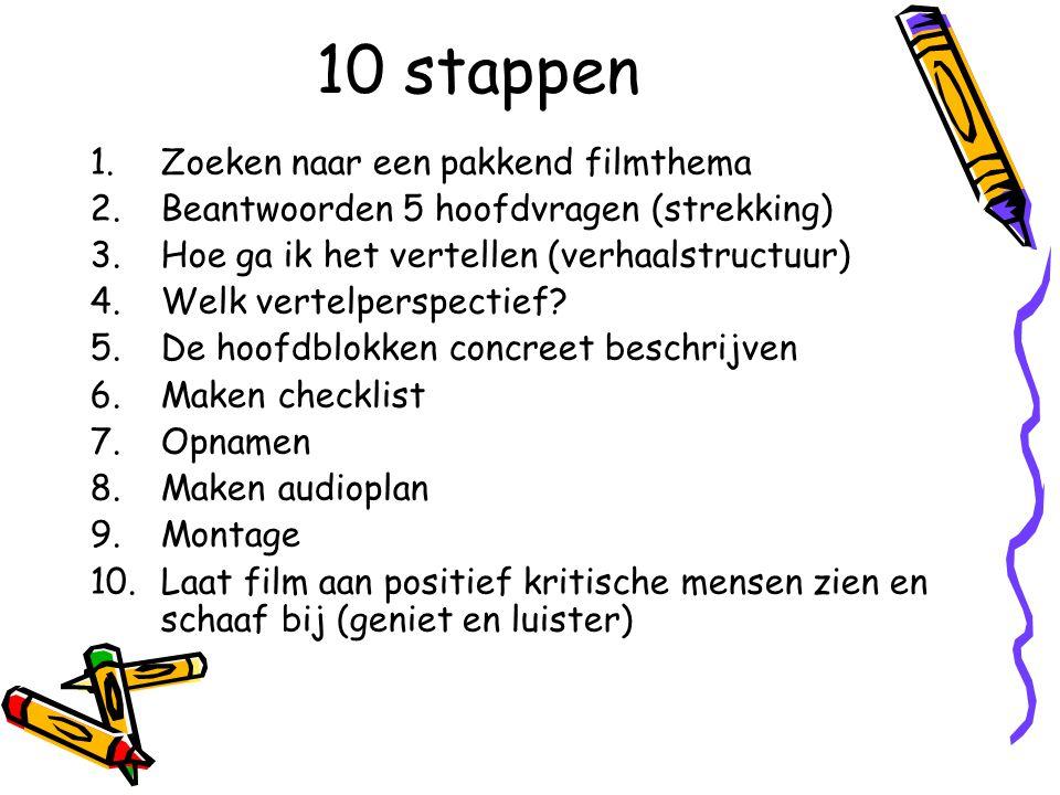 10 stappen 1.Zoeken naar een pakkend filmthema 2.Beantwoorden 5 hoofdvragen (strekking) 3.Hoe ga ik het vertellen (verhaalstructuur) 4.Welk vertelpers