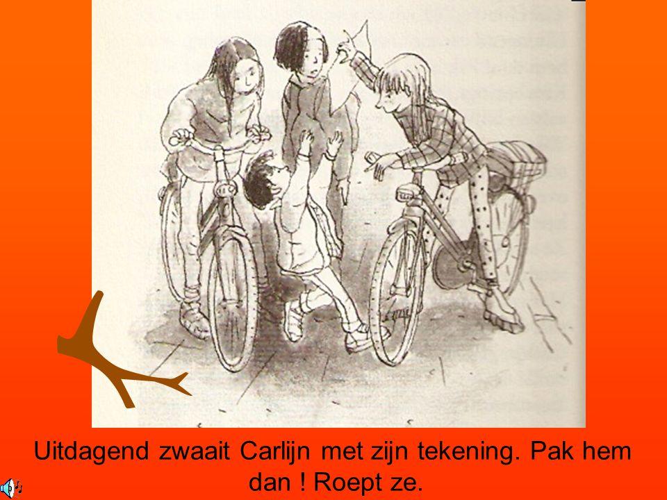 Uitdagend zwaait Carlijn met zijn tekening. Pak hem dan ! Roept ze.