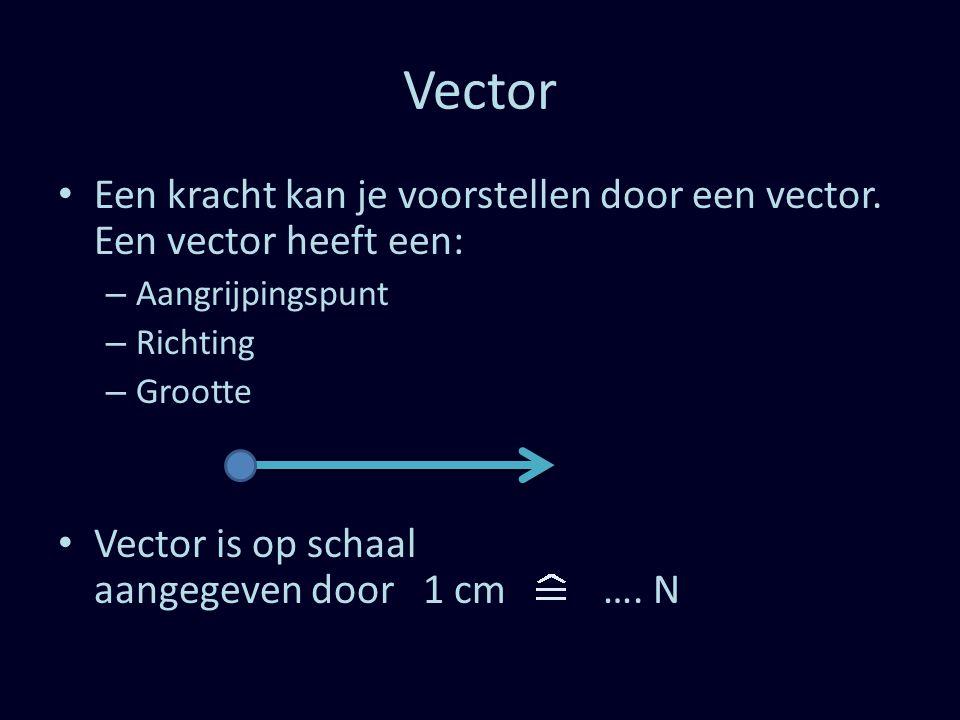 Vector Een kracht kan je voorstellen door een vector. Een vector heeft een: – Aangrijpingspunt – Richting – Grootte Vector is op schaal aangegeven doo