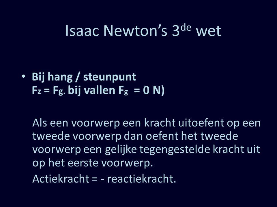 Isaac Newton's 3 de wet Bij hang / steunpunt F z = F g. bij vallen F g = 0 N ) Als een voorwerp een kracht uitoefent op een tweede voorwerp dan oefent