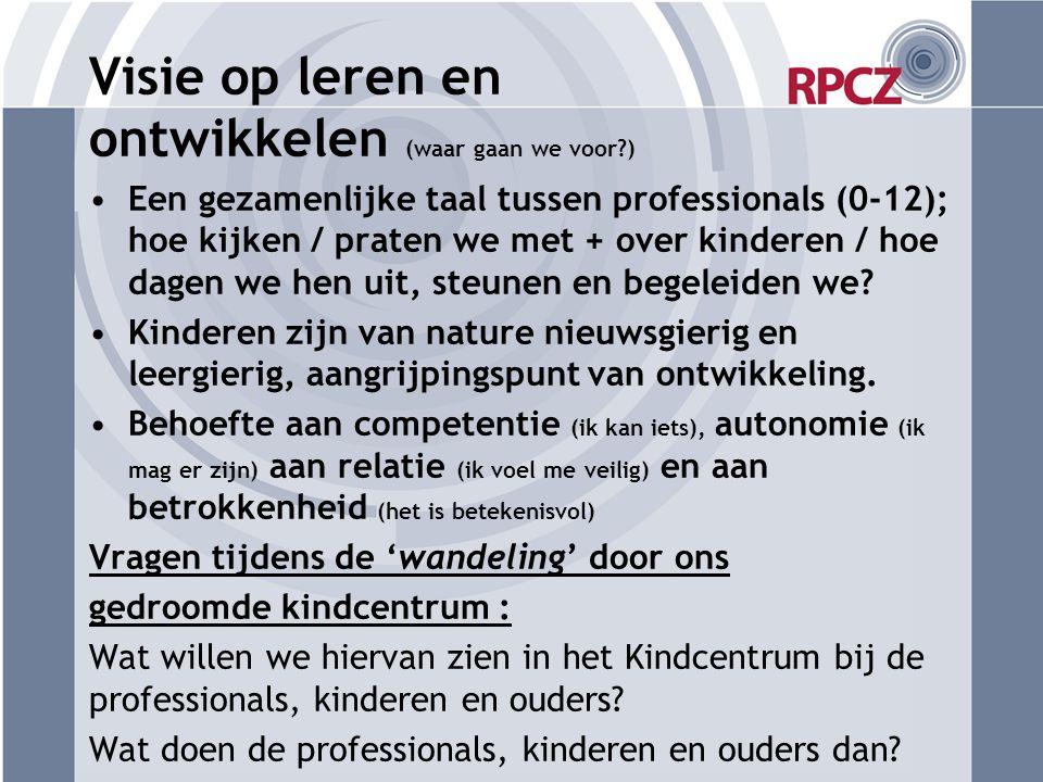 Visie op leren en ontwikkelen (waar gaan we voor?) Een gezamenlijke taal tussen professionals (0-12); hoe kijken / praten we met + over kinderen / hoe