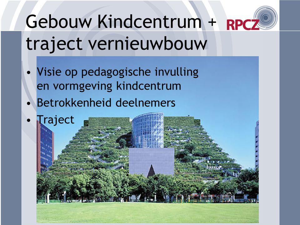 Gebouw Kindcentrum + traject vernieuwbouw Visie op pedagogische invulling en vormgeving kindcentrum Betrokkenheid deelnemers Traject