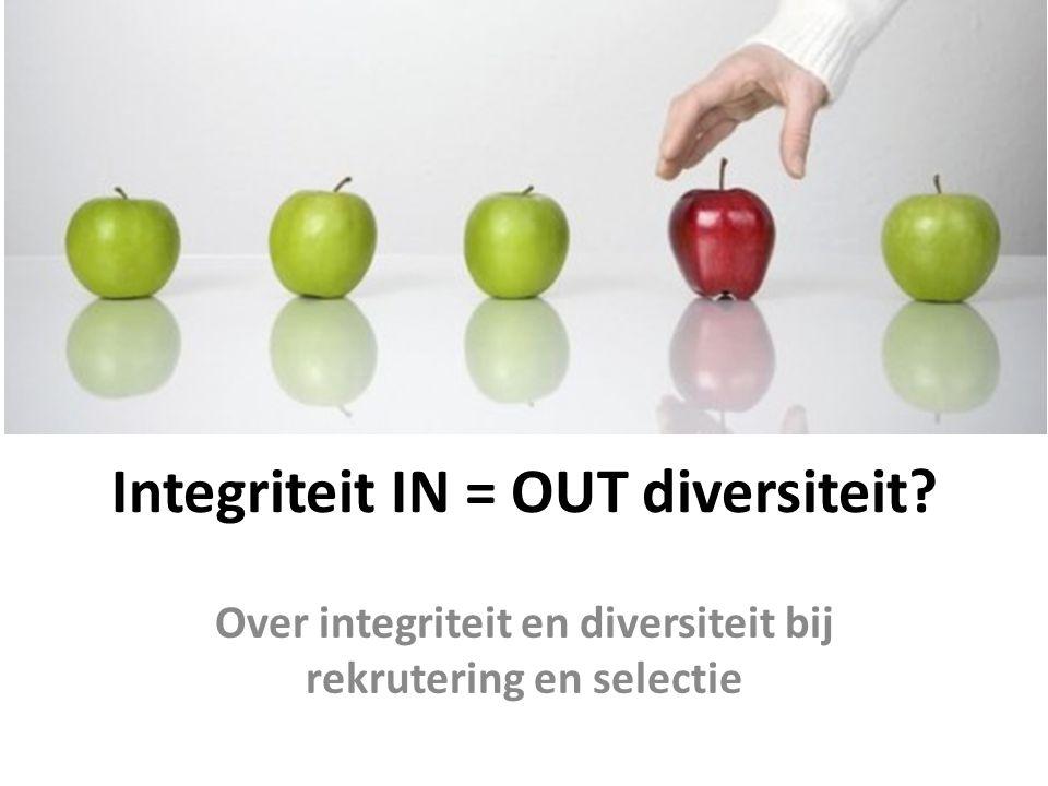 Integriteit IN = OUT diversiteit Over integriteit en diversiteit bij rekrutering en selectie