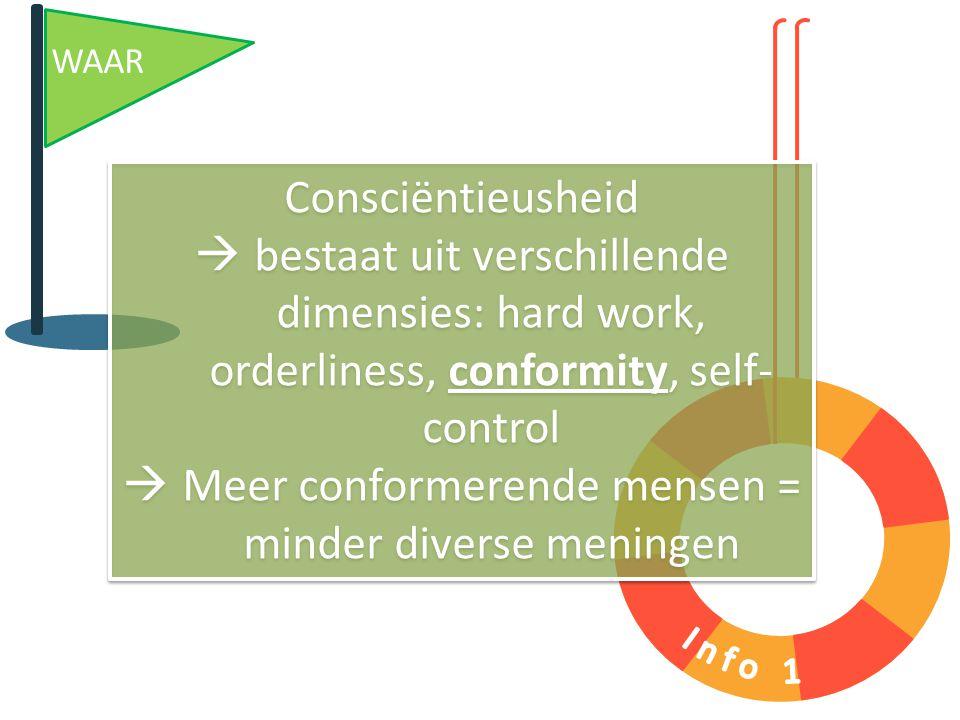 Consciëntieusheid  bestaat uit verschillende dimensies: hard work, orderliness, conformity, self- control  Meer conformerende mensen = minder divers