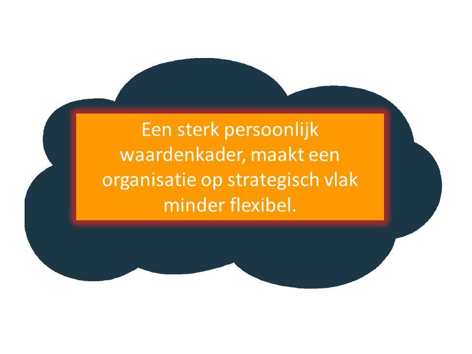 Een sterk persoonlijk waardenkader, maakt een organisatie op strategisch vlak minder flexibel.