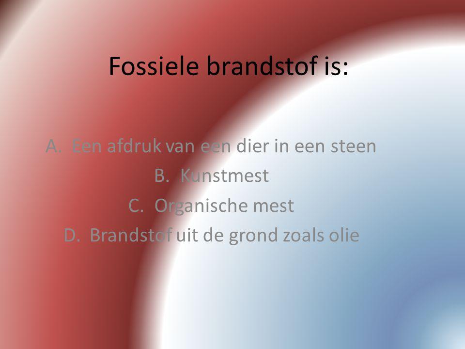 Fossiele brandstof is: A.Een afdruk van een dier in een steen B.Kunstmest C.Organische mest D.Brandstof uit de grond zoals olie