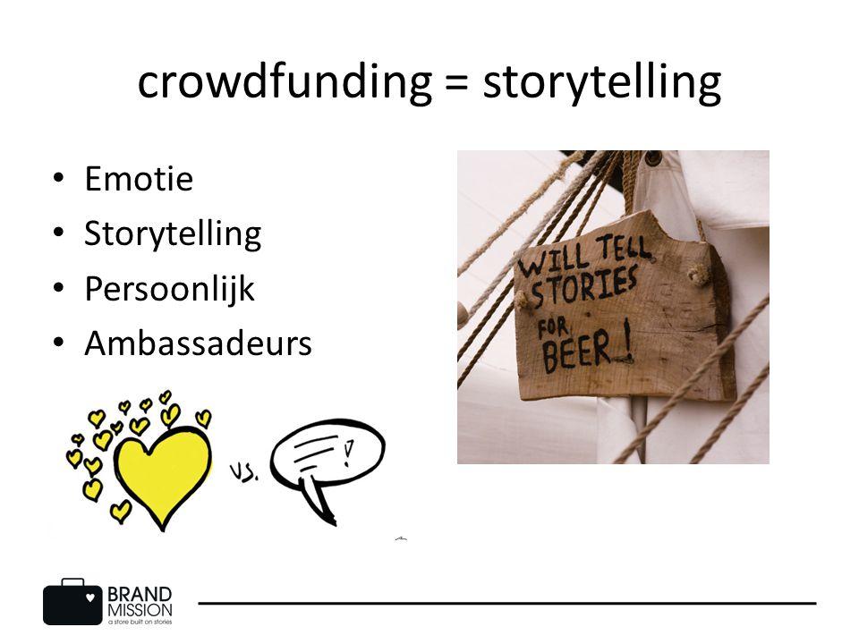 crowdfunding = storytelling Emotie Storytelling Persoonlijk Ambassadeurs
