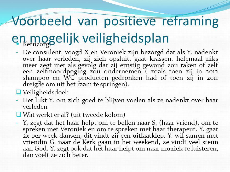 Voorbeeld van positieve reframing en mogelijk veiligheidsplan Kernzorg: - De consulent, voogd X en Veroniek zijn bezorgd dat als Y. nadenkt over haar