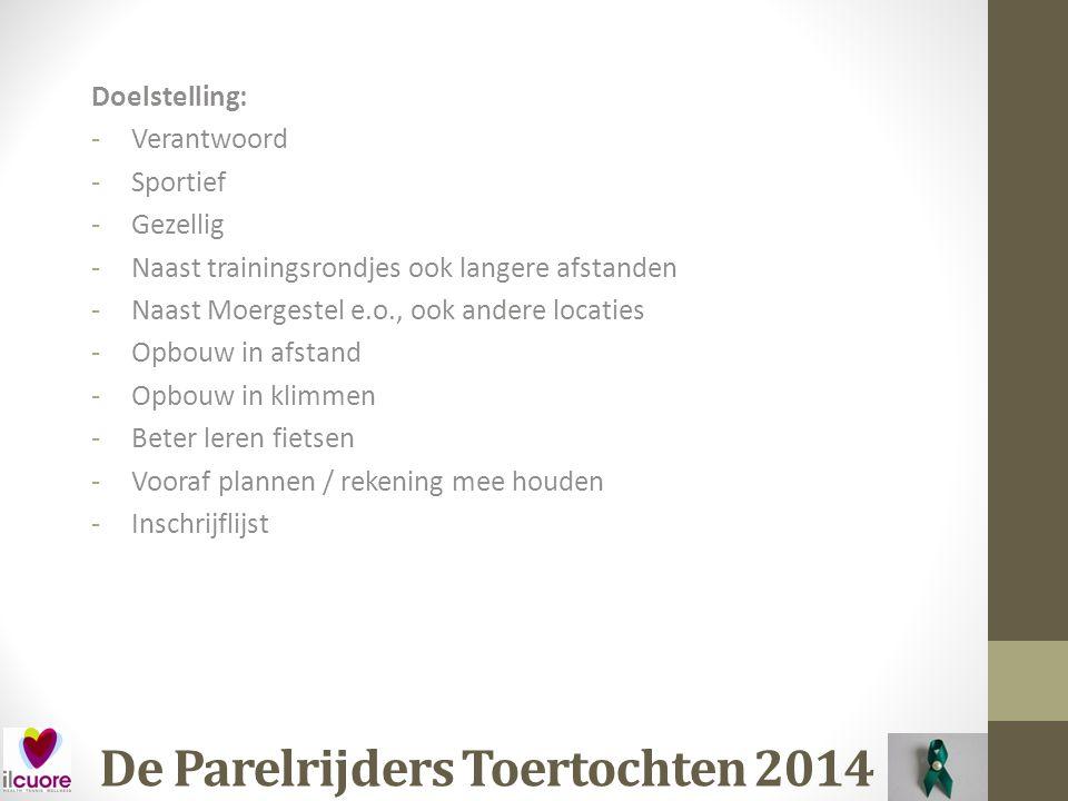 De Parelrijders Toertochten 2014 Datum: Maandag 21 April (2 e Paasdag) Waar: Zijtaart Organisatie: Klaver van Brabant Afstand: 30, 80, 100, 120 kilometer (voorstel 100km) Kosten: € 4,00 (Voor)inschrijving: Ja Opmerking: