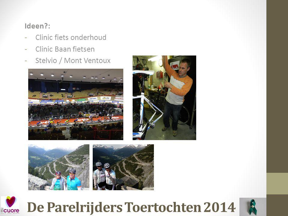 De Parelrijders Toertochten 2014 Datum: Zaterdag 26 April (Koningsdag) Waar: Horst (Limburg) Organisatie: Oranjetocht Afstand: 65, 90, 120 en 150 kilometer (voorstel 120km) Kosten: € 6,00 (Voor)inschrijving: Ja Opmerking: