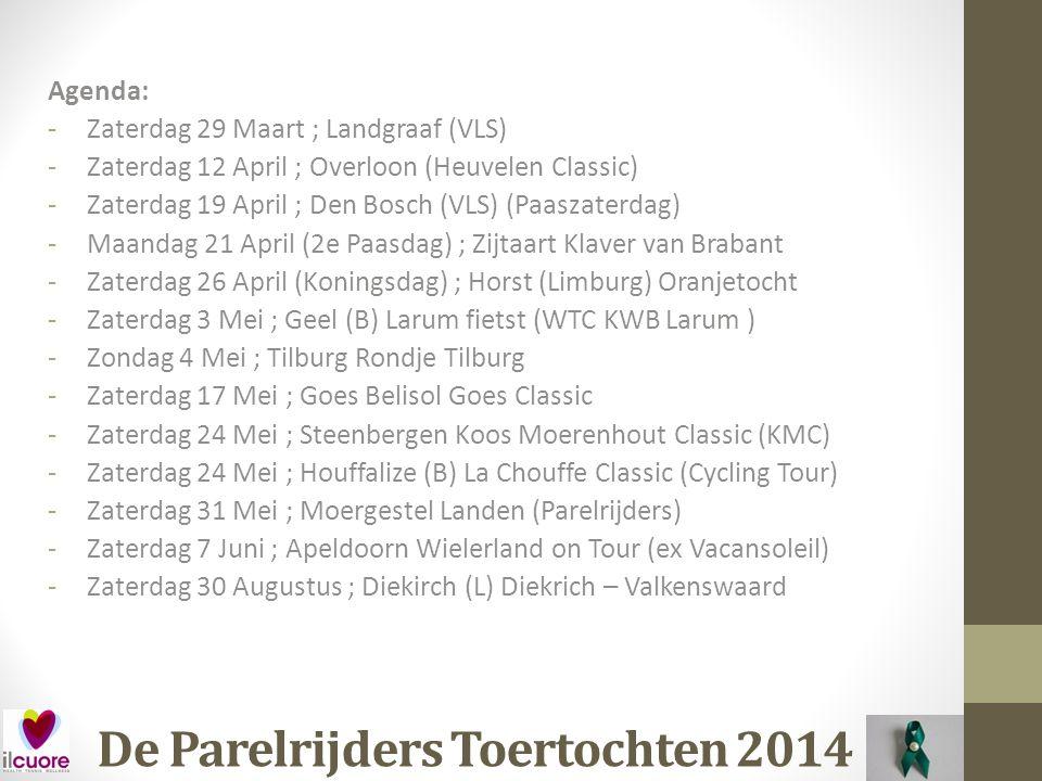 De Parelrijders Toertochten 2014 Datum: Zaterdag 30 Augustus Waar: Diekirch (L) Organisatie: Diekrich – Valkenswaard (Stichting Wim Kemps) Afstand: ±250 km Kosten: € .