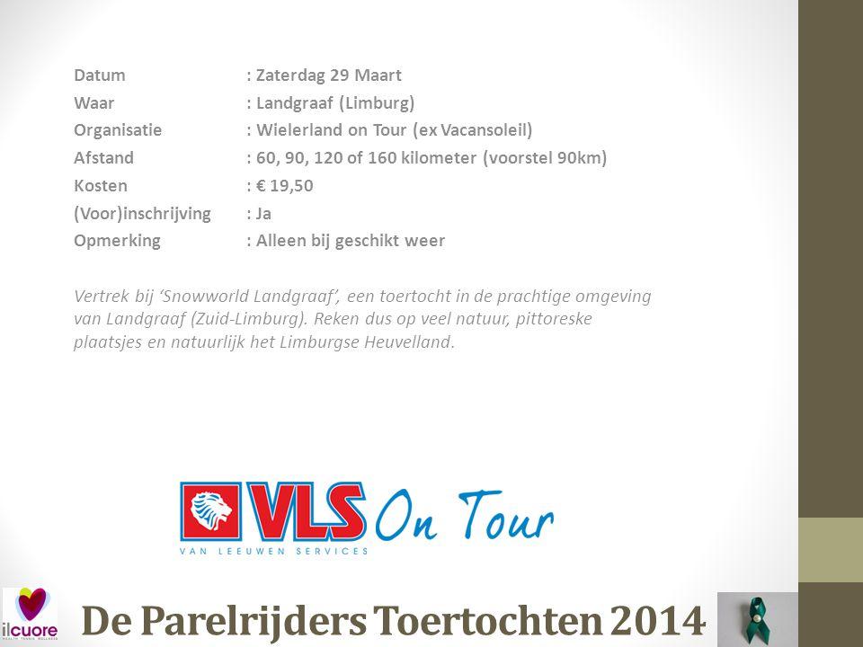 De Parelrijders Toertochten 2014 Zaterdag 29 Maart, Landgraaf (Limburg), Afstand 90 kilometer