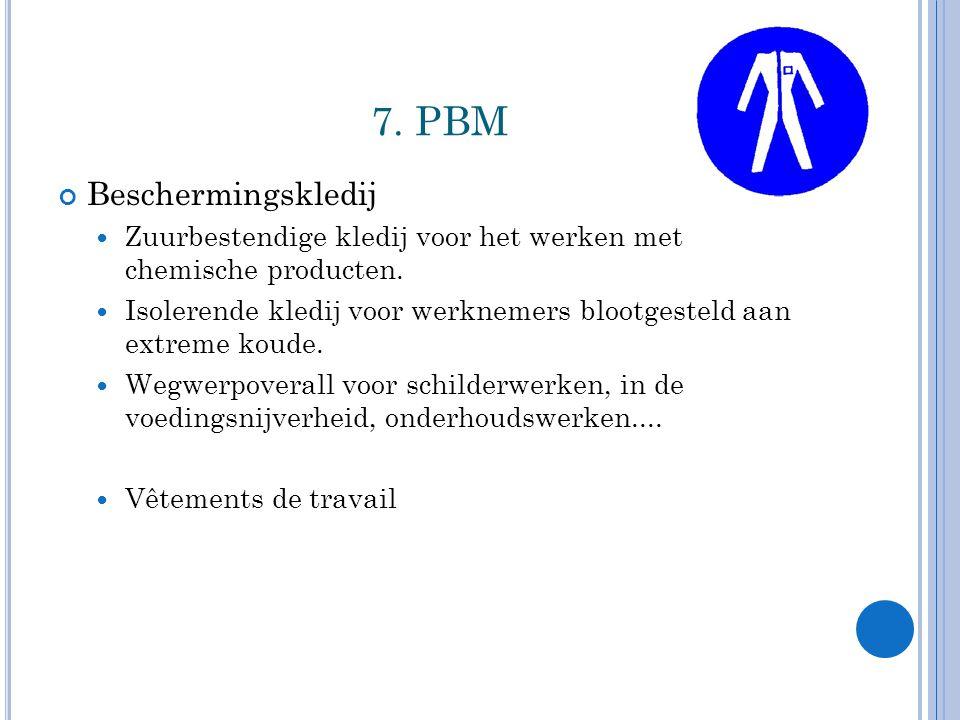 7.PBM Beschermingskledij Zuurbestendige kledij voor het werken met chemische producten.