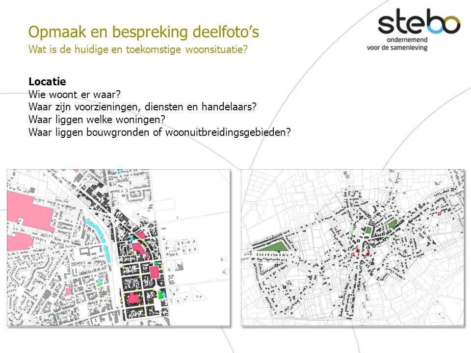Opmaak en bespreking deelfoto's Wat is de huidige en toekomstige woonsituatie? Locatie Wie woont er waar? Waar zijn voorzieningen, diensten en handela