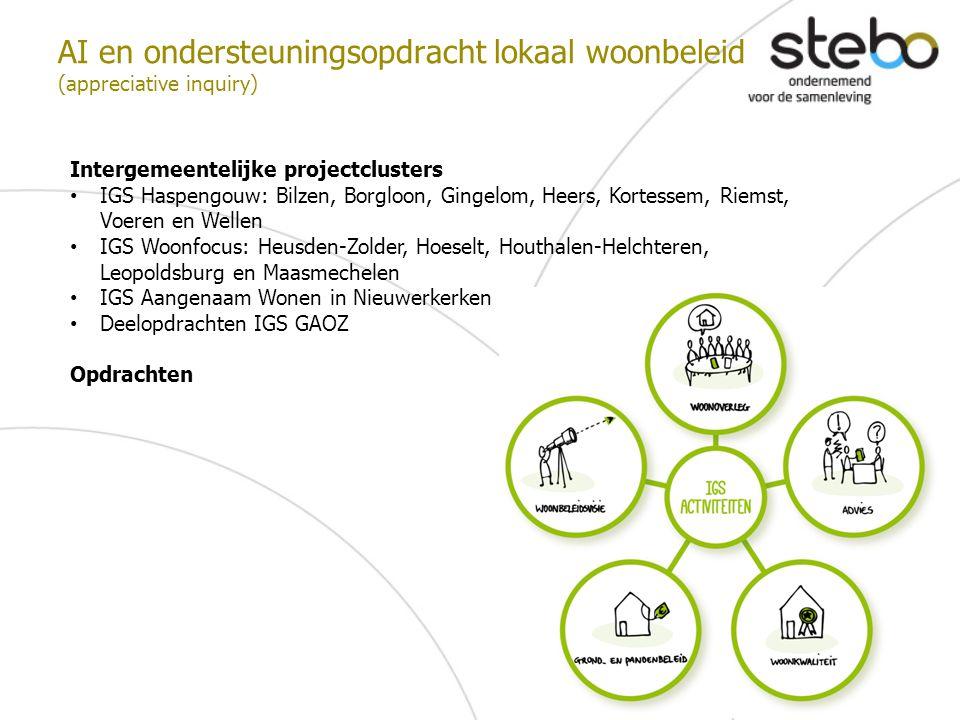 AI en ondersteuningsopdracht lokaal woonbeleid (appreciative inquiry) Intergemeentelijke projectclusters IGS Haspengouw: Bilzen, Borgloon, Gingelom, H