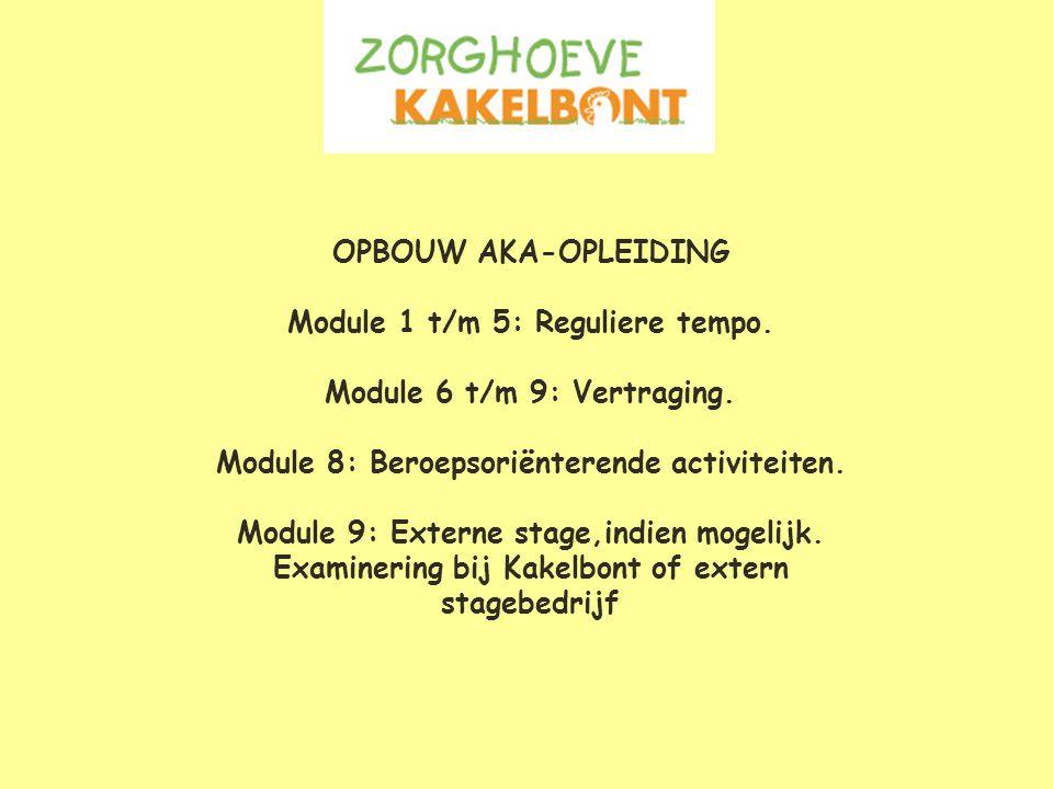 OPBOUW AKA-OPLEIDING Module 1 t/m 5: Reguliere tempo.
