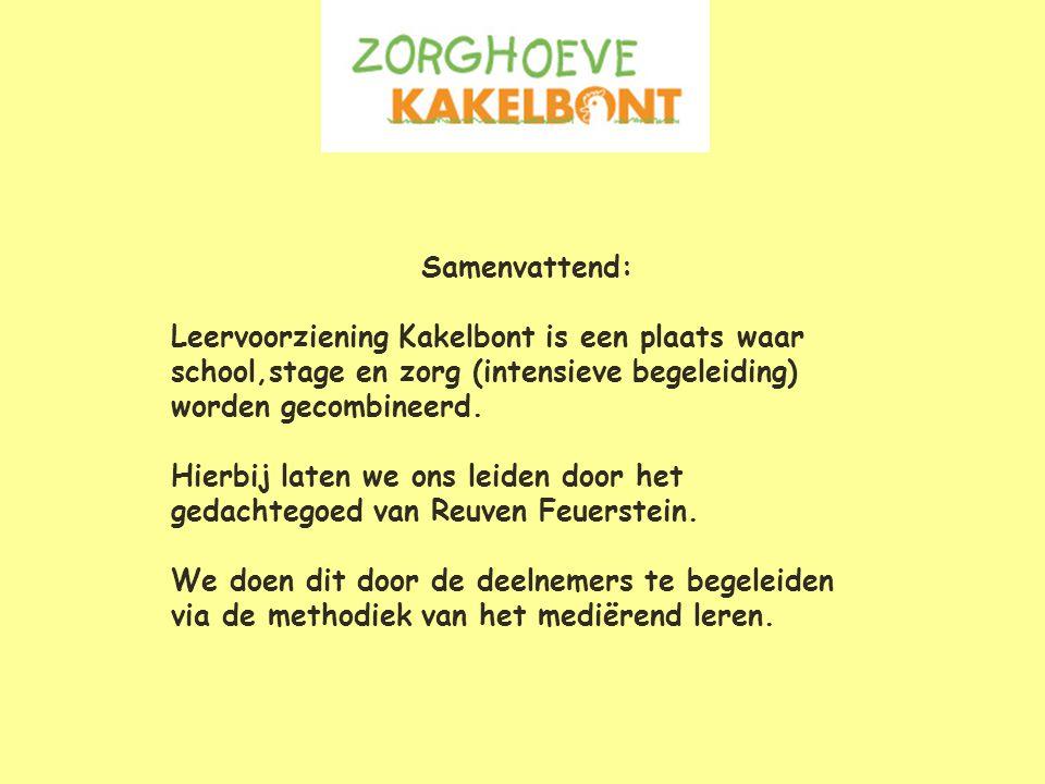 Samenvattend: Leervoorziening Kakelbont is een plaats waar school,stage en zorg (intensieve begeleiding) worden gecombineerd.