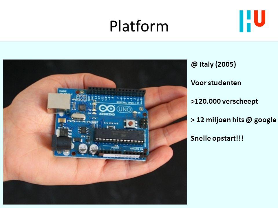 Platform II Arduino Uno Microcontroller ATmega328 5V - USB gevoed 14 digitale I/O pinnen, 6 analoge input pinnen Memory: Flash 32 KB (0.5 KB bootloader), SRAM 2 KB 16 Miljoen instructies per seconde...