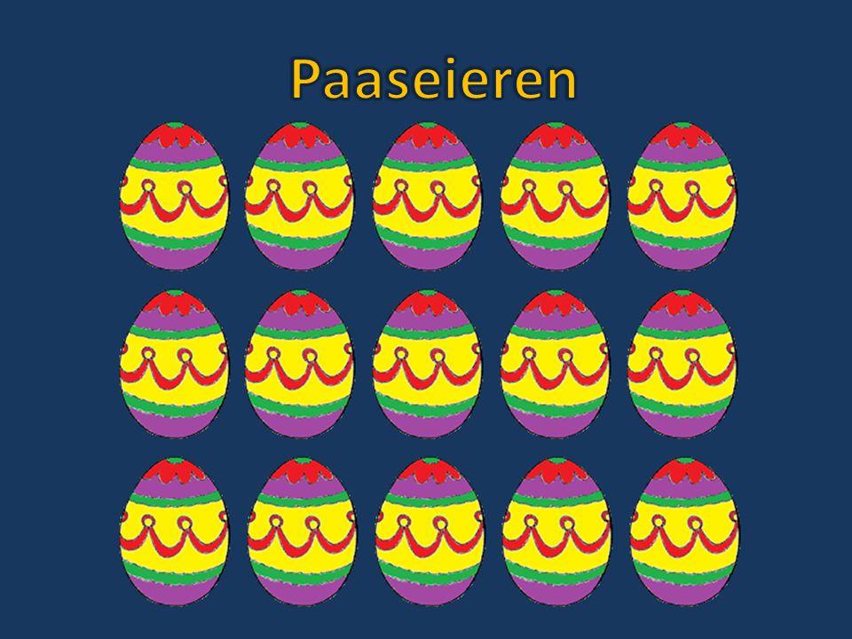Een paashaas loopt met een mand met 160 eieren.Hij komt langs 12 tuinen.