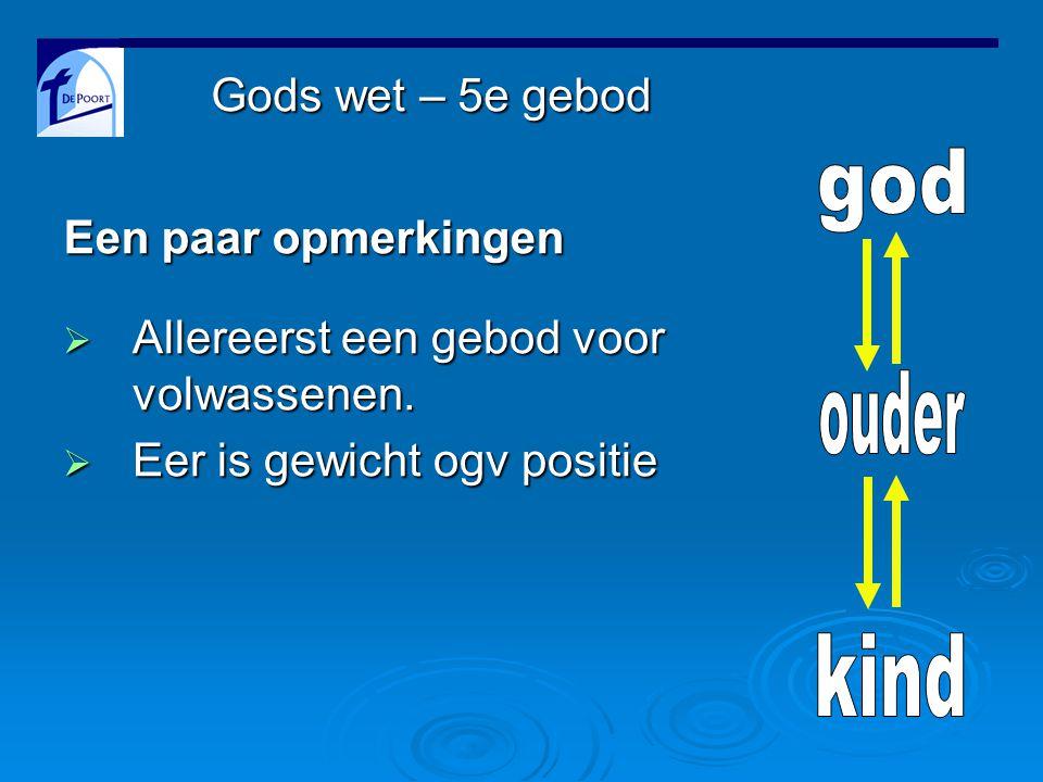 Gods wet – 5e gebod  Allereerst een gebod voor volwassenen.