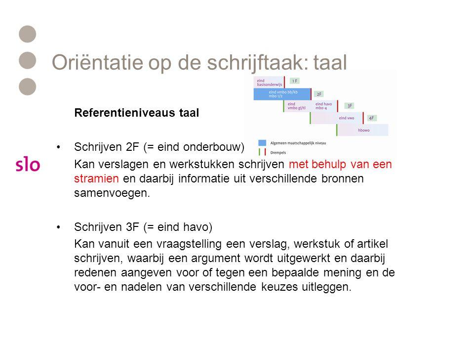 Oriëntatie op de schrijftaak: taal Referentieniveaus taal Schrijven 2F (= eind onderbouw) Kan verslagen en werkstukken schrijven met behulp van een st