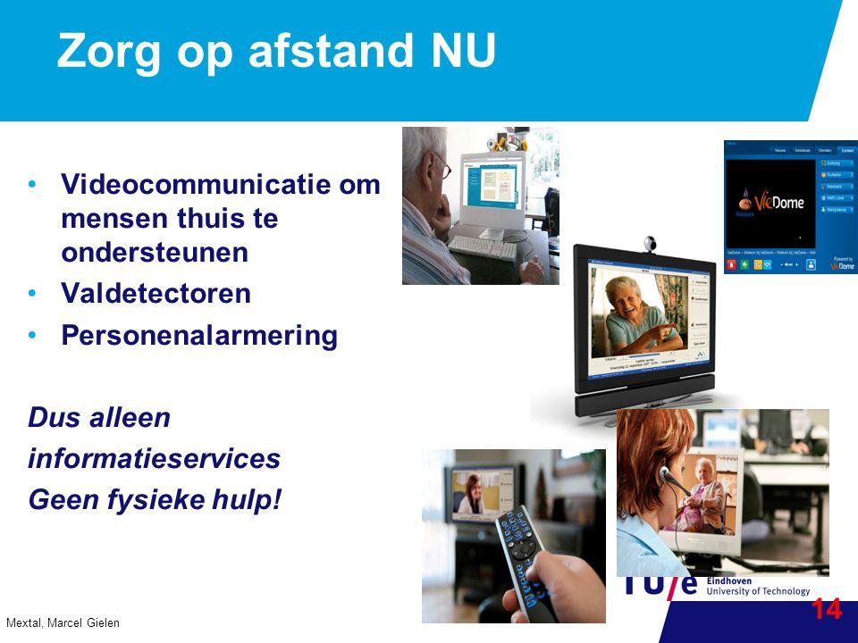 Zorg op afstand NU Videocommunicatie om mensen thuis te ondersteunen Valdetectoren Personenalarmering Dus alleen informatieservices Geen fysieke hulp.