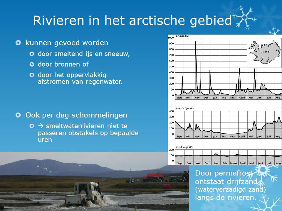 Rivieren in het arctische gebied  kunnen gevoed worden  door smeltend ijs en sneeuw,  door bronnen of  door het oppervlakkig afstromen van regenwa