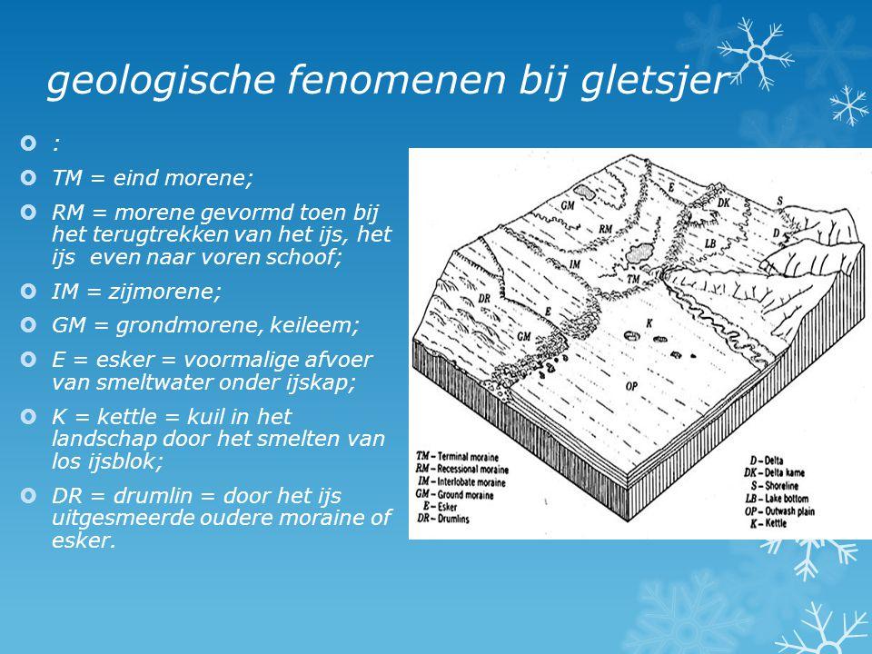 geologische fenomenen bij gletsjer  :  TM = eind morene;  RM = morene gevormd toen bij het terugtrekken van het ijs, het ijs even naar voren schoof