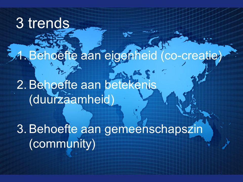 3 trends 1.Behoefte aan eigenheid (co-creatie) 2.Behoefte aan betekenis (duurzaamheid) 3.Behoefte aan gemeenschapszin (community) 12