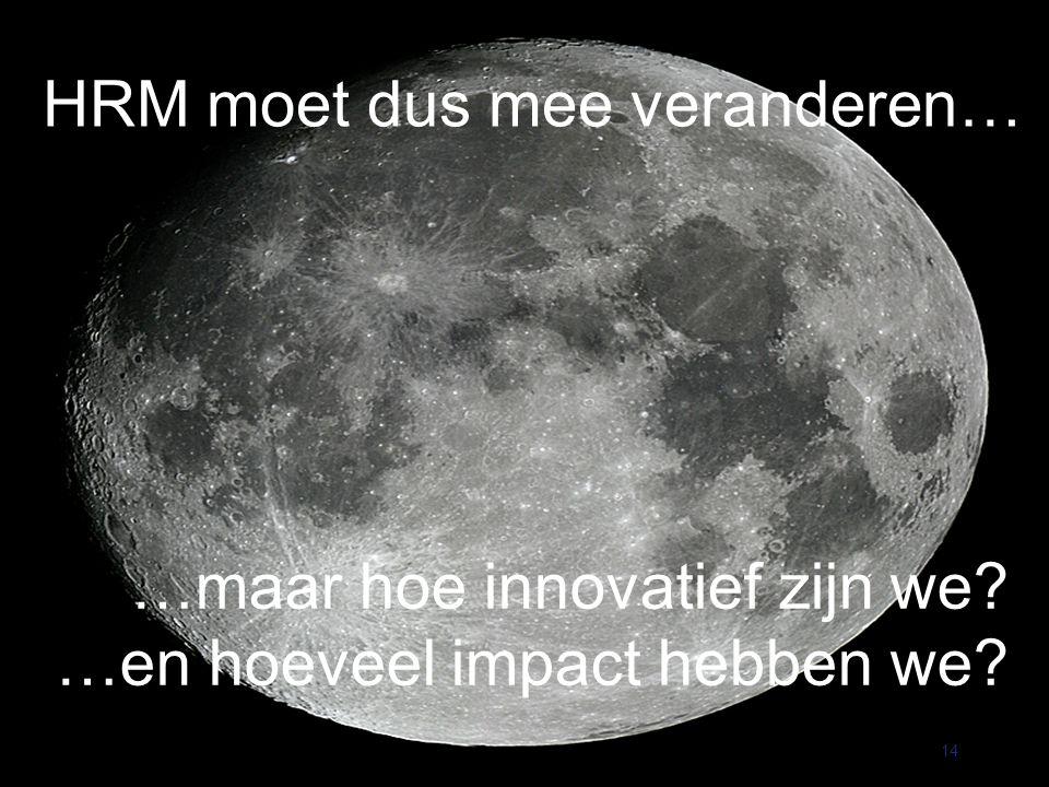 HRM moet dus mee veranderen… 14 …maar hoe innovatief zijn we …en hoeveel impact hebben we