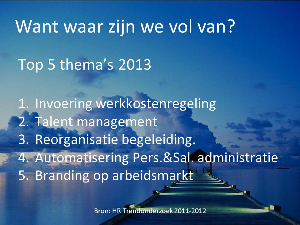 Want waar zijn we vol van? Top 5 thema's 2013 1.Invoering werkkostenregeling 2.Talent management 3.Reorganisatie begeleiding. 4.Automatisering Pers.&S