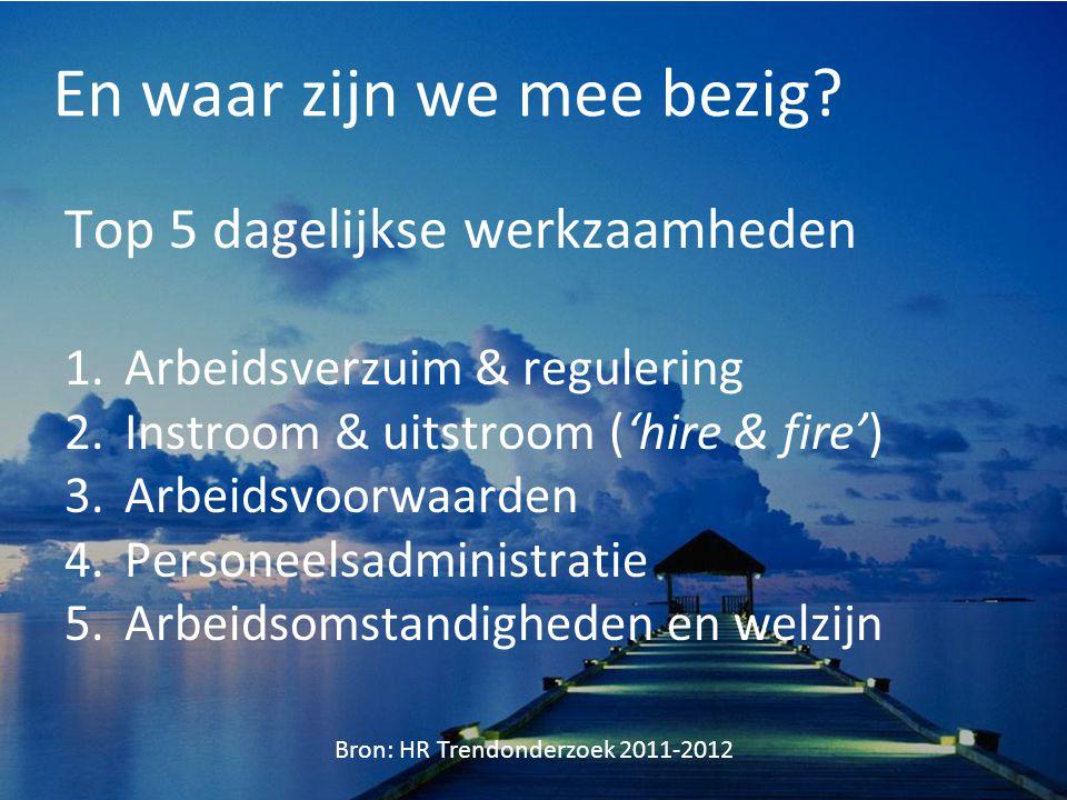En waar zijn we mee bezig? Top 5 dagelijkse werkzaamheden 1.Arbeidsverzuim & regulering 2.Instroom & uitstroom ('hire & fire') 3.Arbeidsvoorwaarden 4.