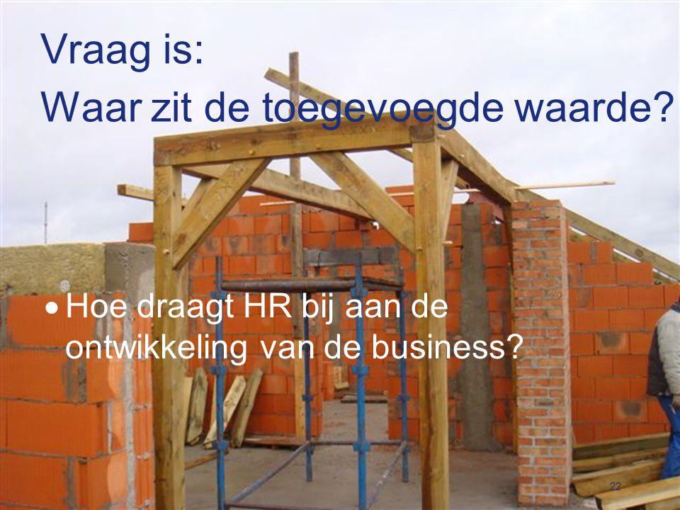 Vraag is: Waar zit de toegevoegde waarde?  Hoe draagt HR bij aan de ontwikkeling van de business? 22