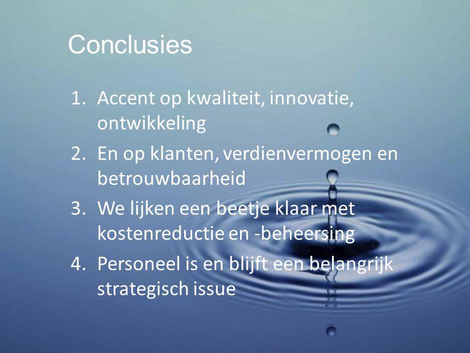 Conclusies 1.Accent op kwaliteit, innovatie, ontwikkeling 2.En op klanten, verdienvermogen en betrouwbaarheid 3.We lijken een beetje klaar met kostenreductie en -beheersing 4.Personeel is en blijft een belangrijk strategisch issue