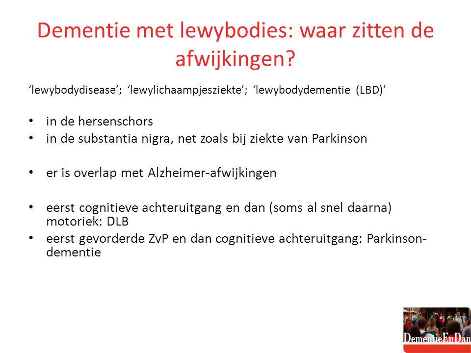 Dementie met lewybodies: waar zitten de afwijkingen? 'lewybodydisease'; 'lewylichaampjesziekte'; 'lewybodydementie (LBD)' in de hersenschors in de sub
