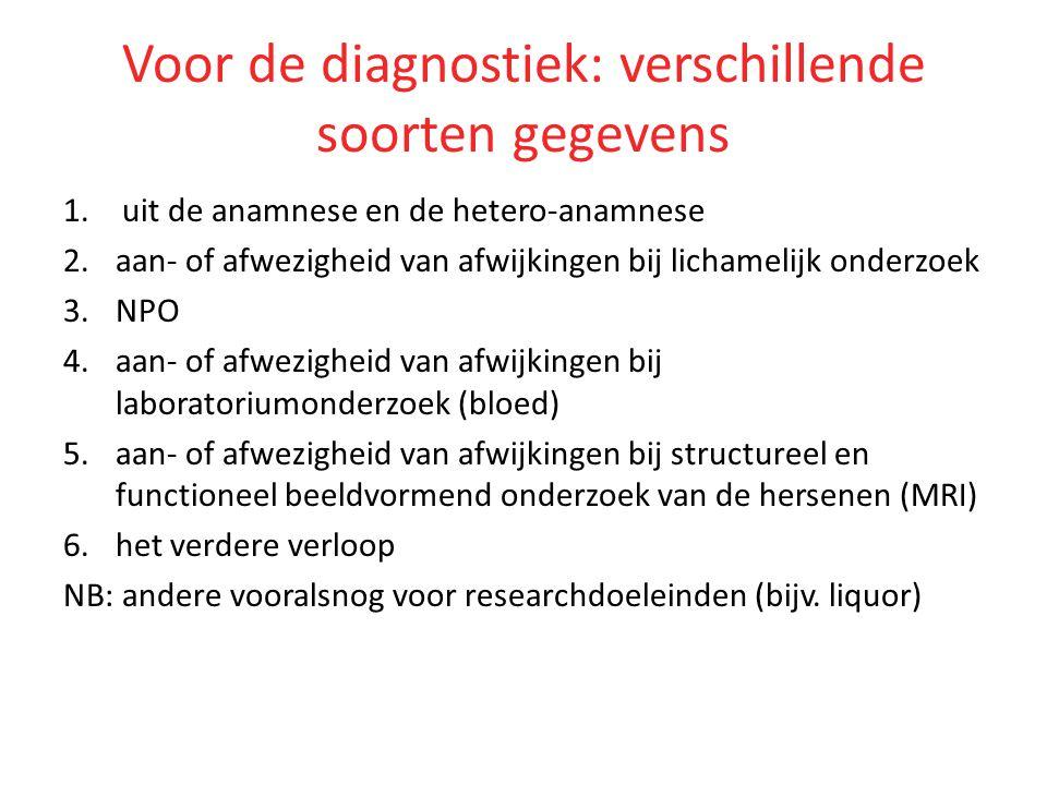 Voor de diagnostiek: verschillende soorten gegevens 1.uit de anamnese en de hetero-anamnese 2.aan- of afwezigheid van afwijkingen bij lichamelijk onde