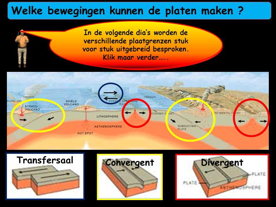 Er zijn drie verschillende bewegingen mogelijk langs de plaatranden 1-Divergent = uit elkaar De rode voorbeelden in de kaart ! 2-Convergent = naar elk